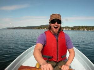 Ben Hamley rowing a boat